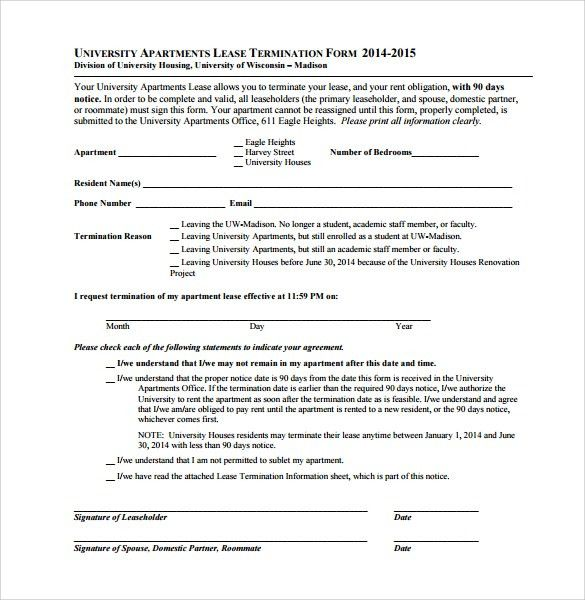Sample Lease Termination Form - 7+ Download Free Documents in PDF ...