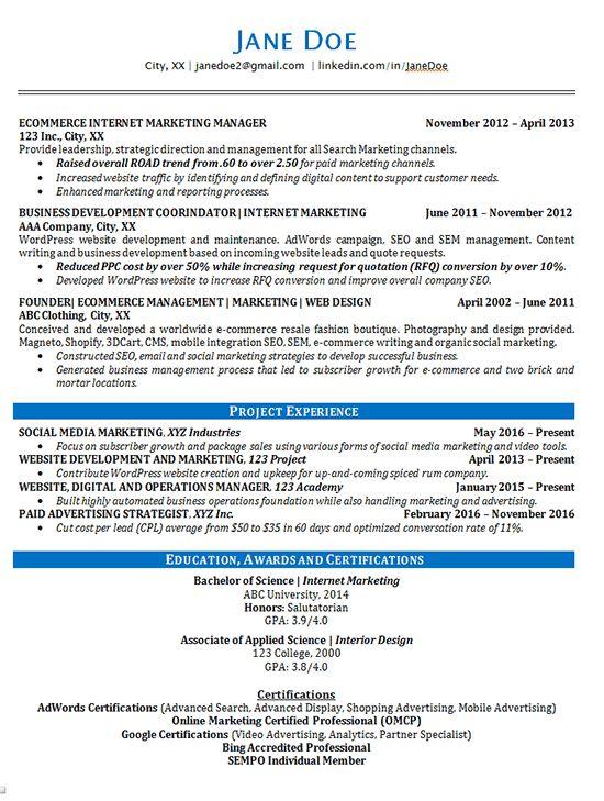 Online Marketing Resume Example - SEO - Advertising
