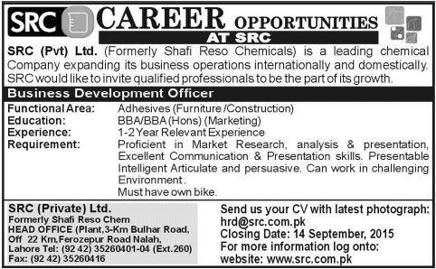 Business Development Officer Required at SRC (Private) Ltd. Lahore