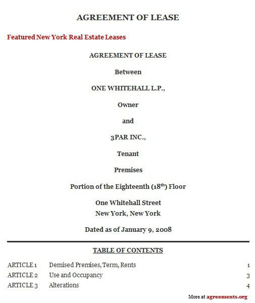 New York Lease Agreement, Sample New York Lease Agreement Template ...