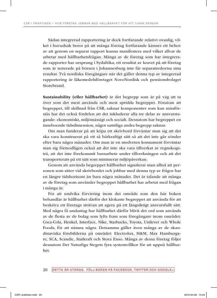 """Utdrag ur boken """"CSR i praktiken"""" av Per Grankvist"""