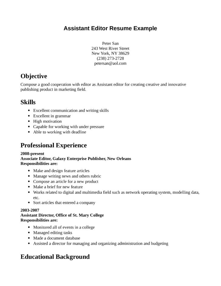Professional Assistant Editor Resume Template
