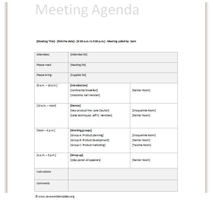 meeting agenda template | Save Word Templates