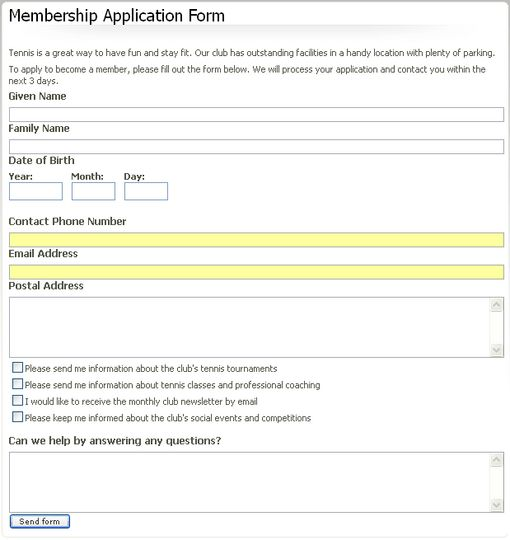 How To Create EZ Publish Forms   The EZ Publish Community  Club Membership Form Template Word