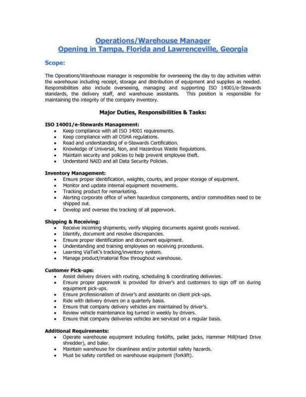 Warehouse Resumes Free. entry level warehouse resume best free ...