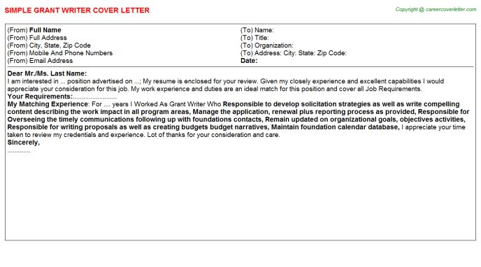Grant Writer Cover Letter