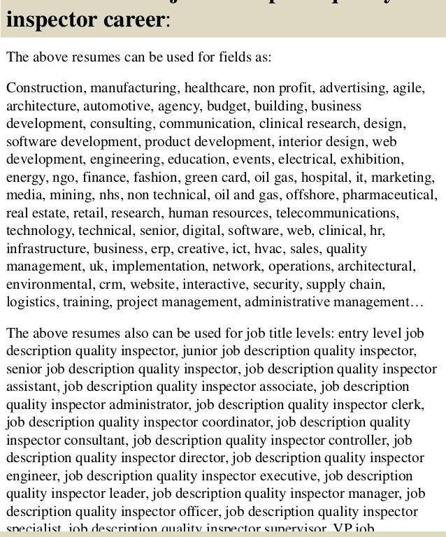 Sumptuous Design Ideas Quality Inspector Resume 14 Top 8 Job ...