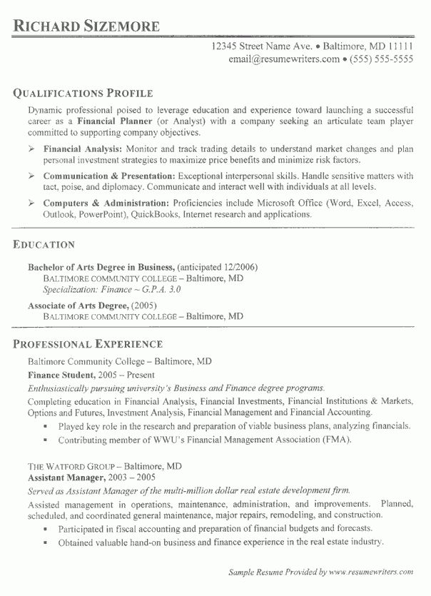 Financial Planner Resume Example: Financial Services Resumes