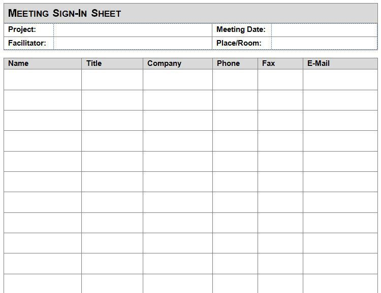 Meeting Attendance Sheet Template Excel Format – Project ...