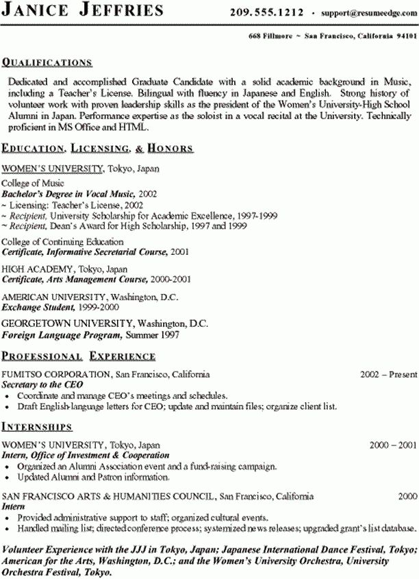 Sample Student Resume - Music