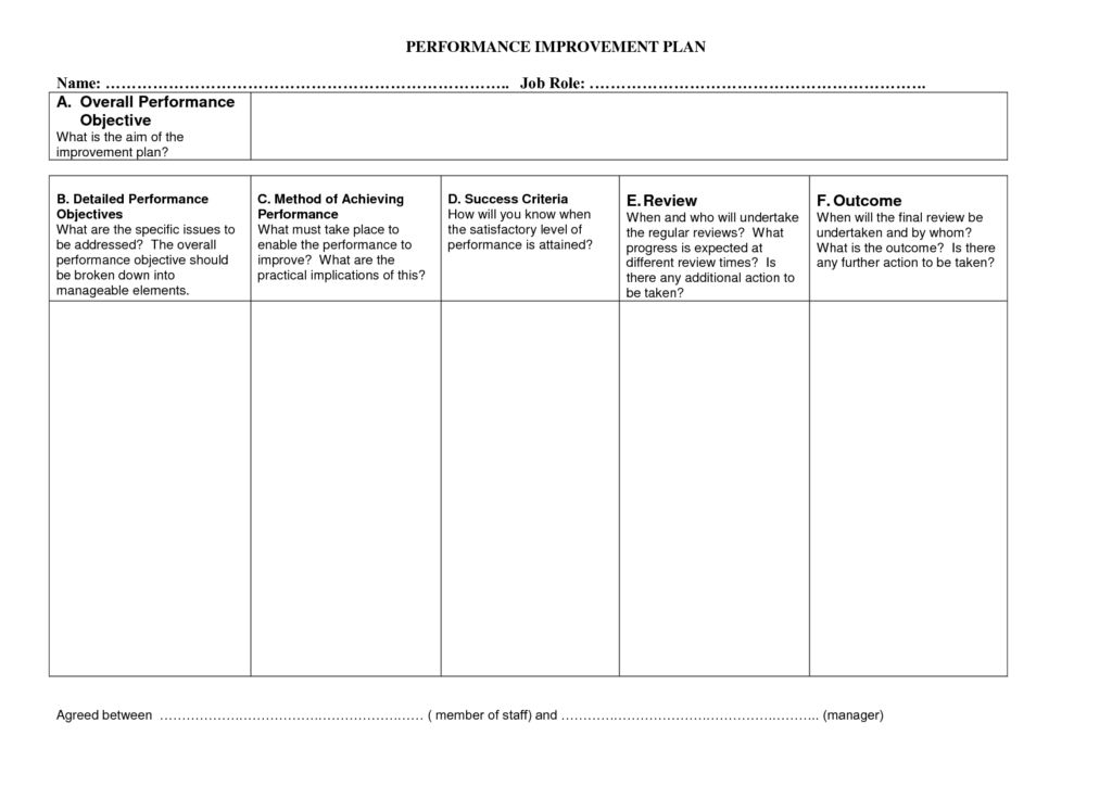 Professional Performance Improvement Plan Template : Helloalive