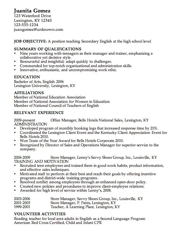 Resume for a High School English Teacher - Susan Ireland Resumes