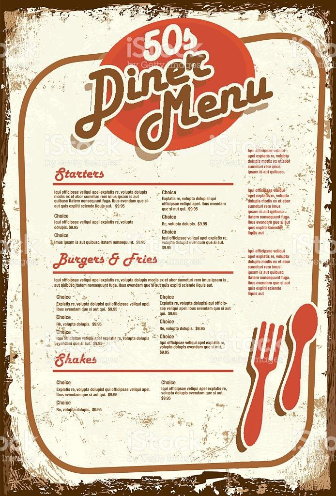 Late Night Retro 50s Diner Menu Layout Aged Paper stock vector art ...