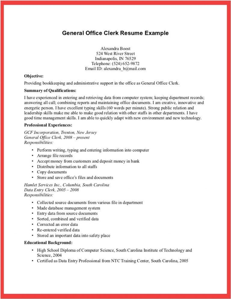 Resume Samples For General Office Clerk - Augustais