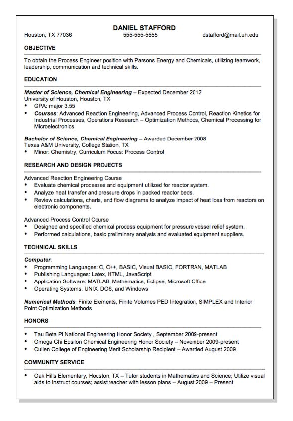 Parsons Energy and Chemical Engineer Resume Sample - http ...
