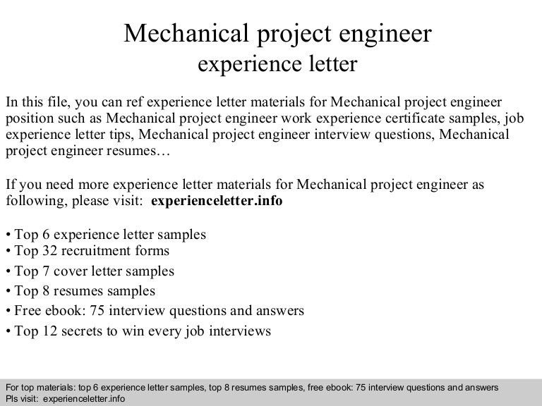 Samples of experience certificate work experience certificate mechanicalprojectengineerexperienceletter 140824115051 phpapp01 thumbnail 4gcb1408881076 yelopaper Image collections
