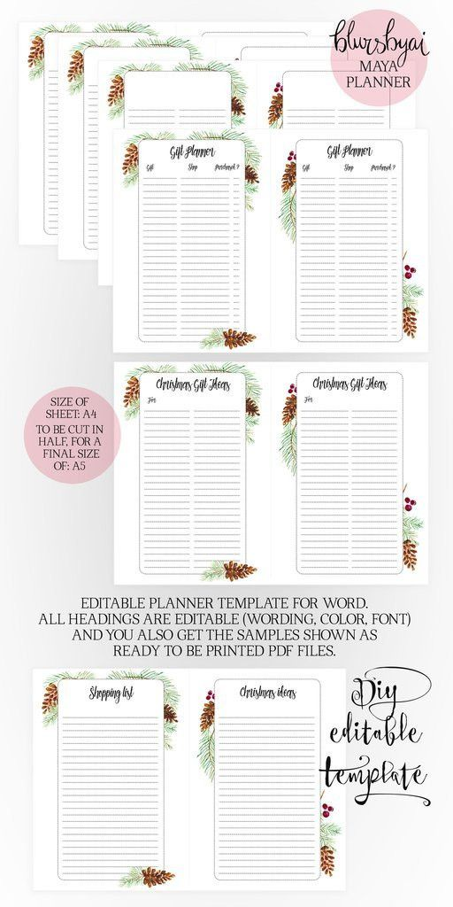 A5 Printable planner. Editable planner template for Word and ready ...