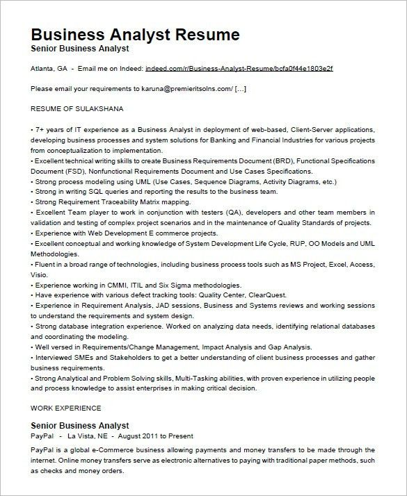 Beautiful Ict Business Analyst Resume Contemporary - Simple resume ...