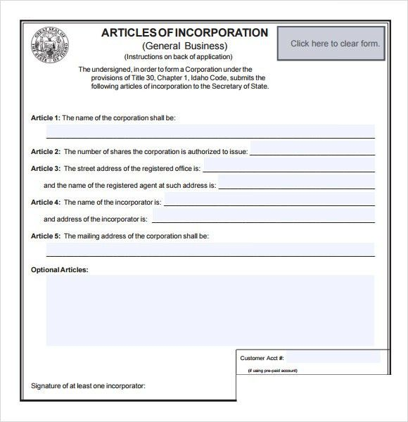 Free Articles Of Incorporation Template [Template.billybullock.us ]