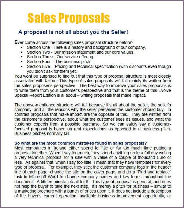 SAMPLE SALES PROPOSAL LETTER FREE | proposalsampleletter.com