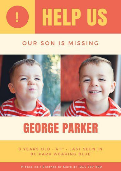 Yellow and Red Child Missing Person Poster - Templates by Canva
