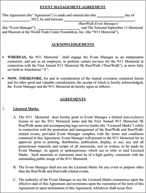 Event Management Agreement Contract, Event Management Agreement ...