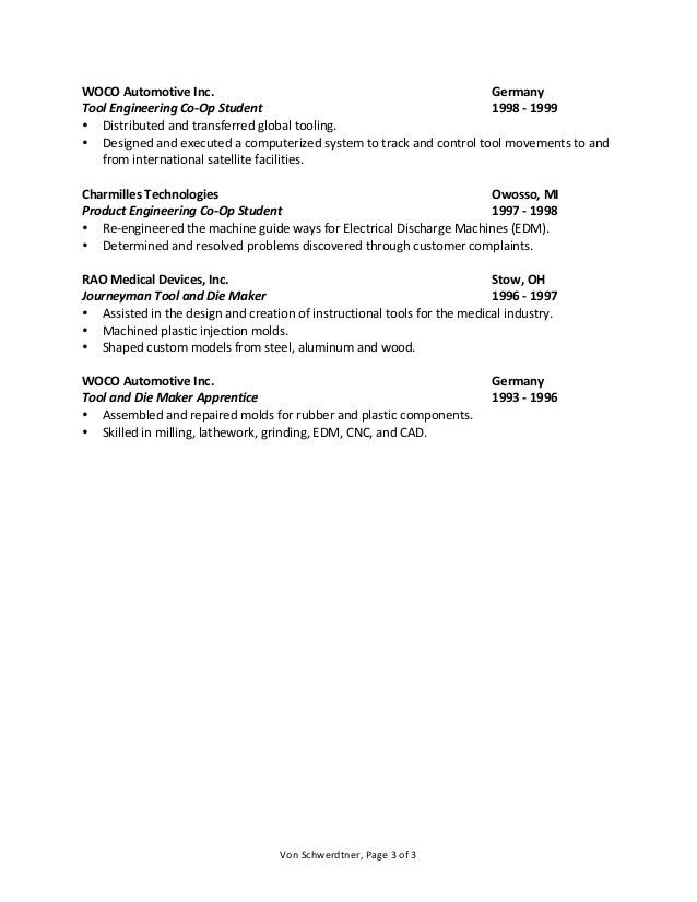 Tool And Die Maker Resume Sample - Contegri.com