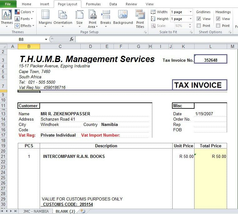Blank Tax Invoice Template Free - Excel Tmp