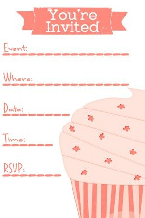 free pink cupcake invite template for birthday party | Cupcakes ...