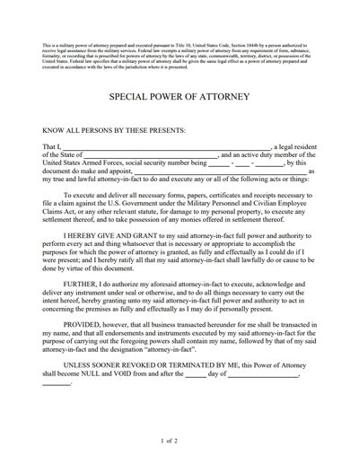 Special Power of Attorney Form: Free Download, Create, Edit, Fill