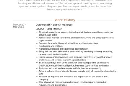Optometry Resume Samples - Reentrycorps