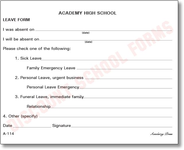 Personal Leave Form | School Forms