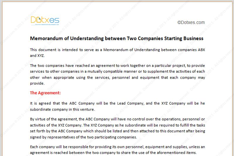 Memorandum of Understanding Template (Starting Business)