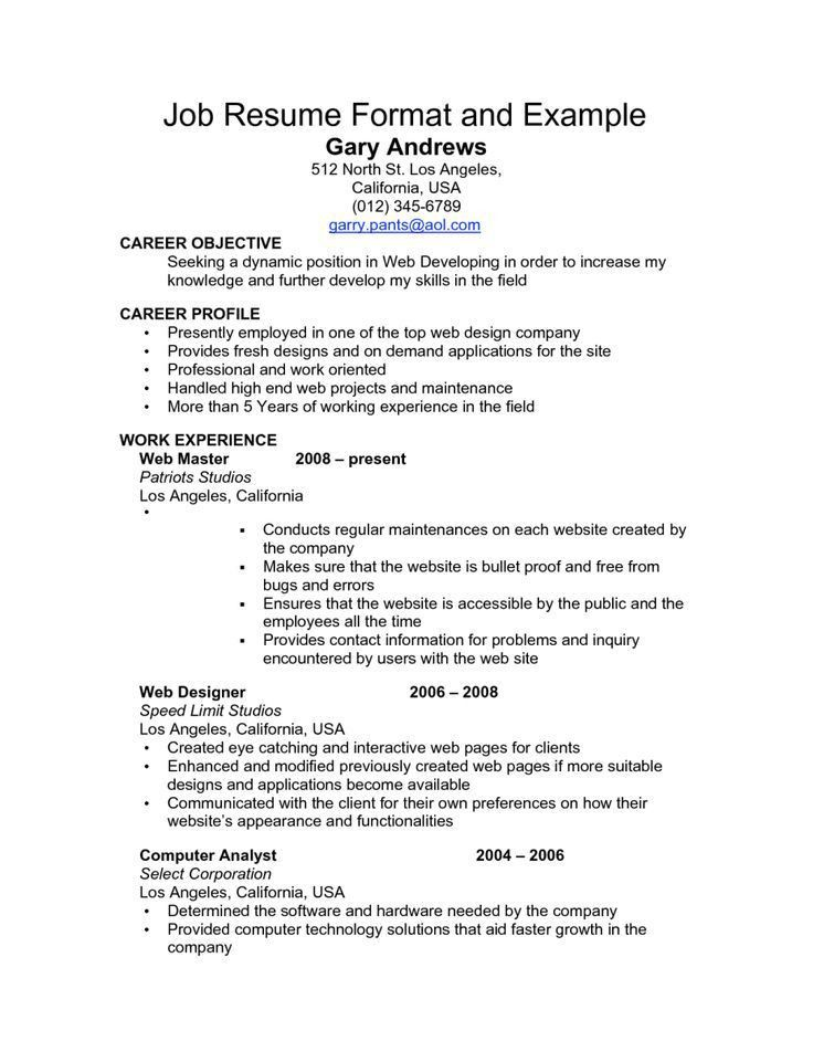 Best 25+ Job resume format ideas only on Pinterest | Resume ...