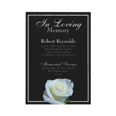 Memorial / Announcement from http://www.zazzle.com/funeral+ ...