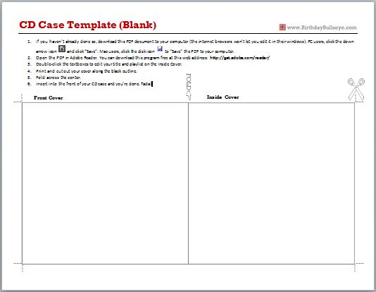 Downloadable CD Case Templates