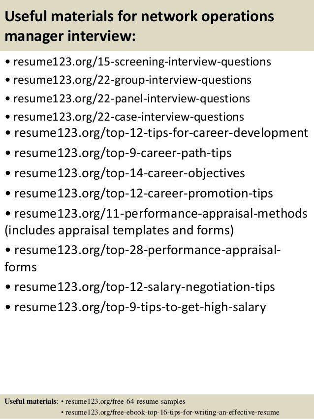 manager resume. network operation manager resume sample ...