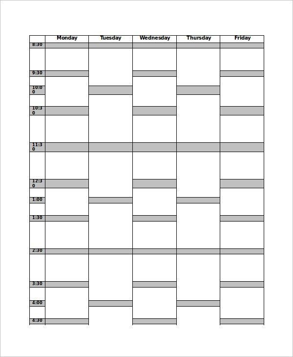 11+ Timetable Templates - Free Sample, Example, Format | Free ...