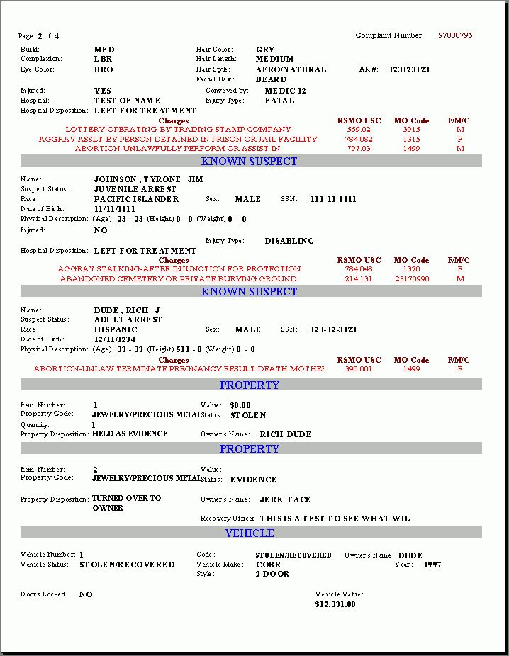 Printable Sample Police Report Template Form   Laywers Template ...