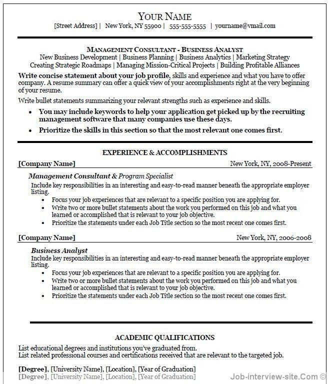 Resume Templates For Word 2007. Free Resume Templates For Word ...