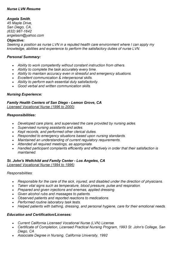 Smartness Ideas Lvn Resume 3 Lvn Resume Samples - Resume Example