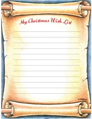 Free Santa's Christmas Wish List - printable pdf