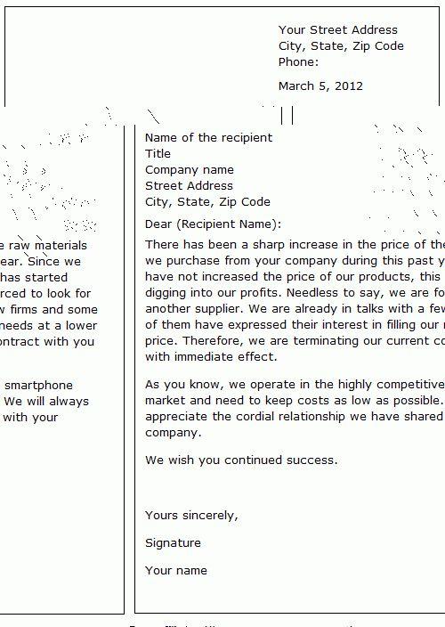 Ending a business relationship - sample letter