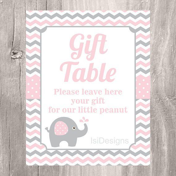 Pink Elephant Printable Guest List Gift List Gift Table