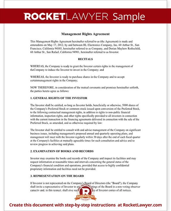 Investment Management Agreement - Management Rights Letter (with ...