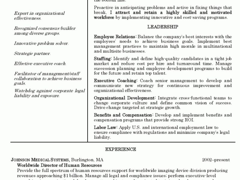 Tremendous Human Resources Manager Resume 7 Sample Resume For ...
