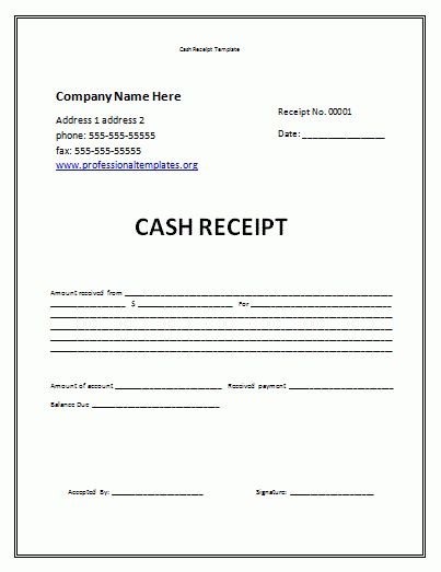 receipt template free | Cash Receipt Template | Professional Word ...