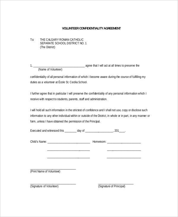 10+ Volunteer Confidentiality Agreement Templates – Free Sample ...