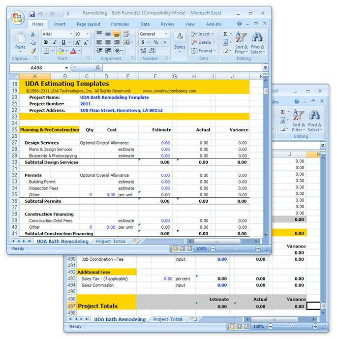 UDA Construction Estimating Templates - Remodeling Excel Templates