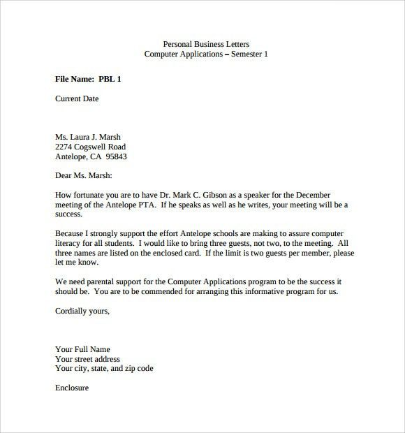 Sample Personal Business Letter - 9+ Documents in PDF, Word